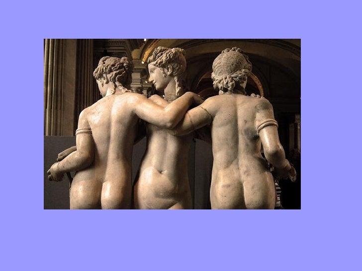 Mosaico romano.Villa FuenteÁlamo en PuenteGenil.Las tres graciasdenominadas deizquierda aderecha Áglae,Eufrosine y Talía,l...