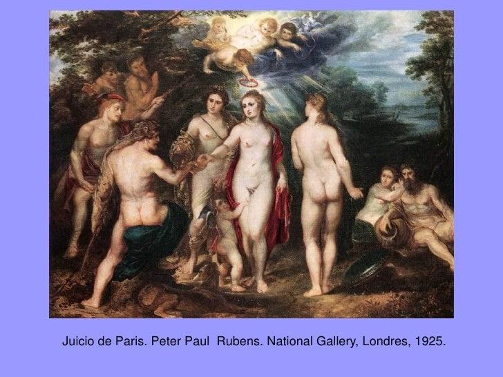 En las distintas versiones las diosas representadas están claramente identificadaspor sus atributos. En la versión de la N...