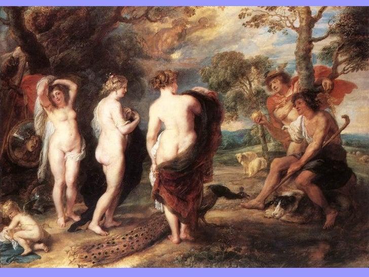 En esta versión de 1639 de El Juicio de Paris, Hermes (Mercurio) aparece entregándolela manzana y mostrándole a las tres f...