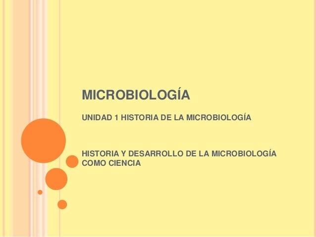 MICROBIOLOGÍAUNIDAD 1 HISTORIA DE LA MICROBIOLOGÍAHISTORIA Y DESARROLLO DE LA MICROBIOLOGÍACOMO CIENCIA
