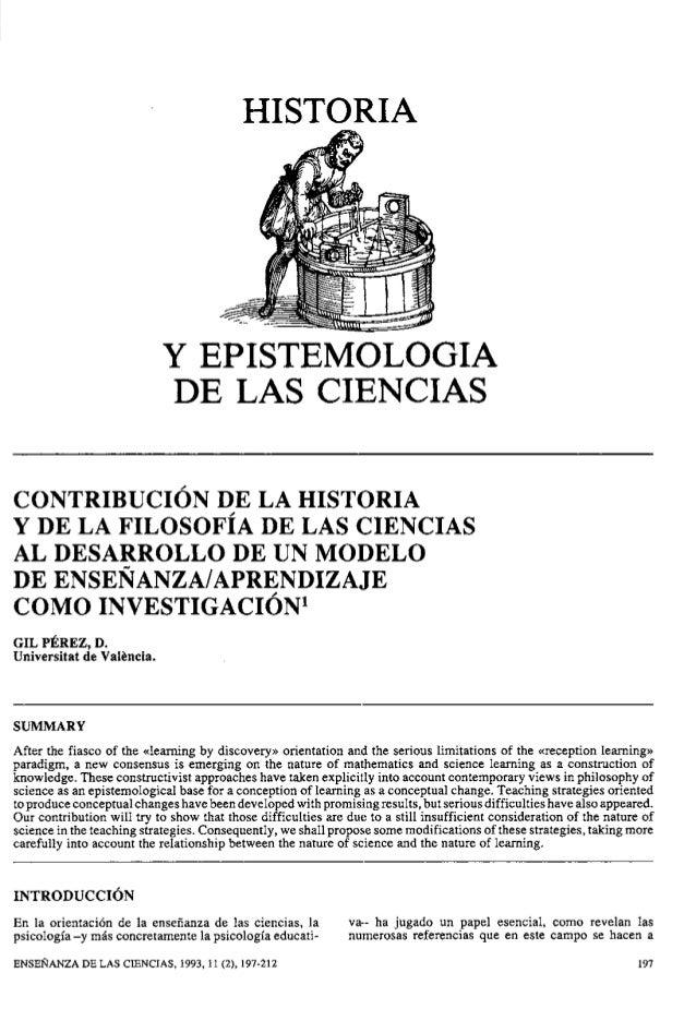HISTORIA Y EPISTEMOLOGIA DE LAS CIENCIAS CONTRIBUCI~NDE LA HISTORIA Y DE LA FILOSOFIA DE LAS CIENCIAS AL DESARROLLO DE UN ...
