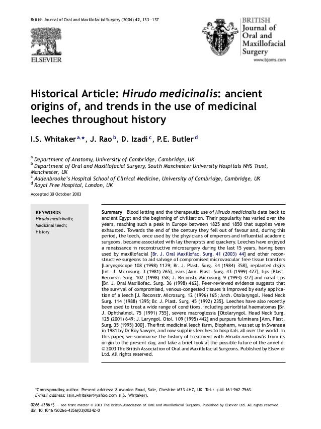 Historical article -hirudo medicinalis--ancient origins of, and trend…