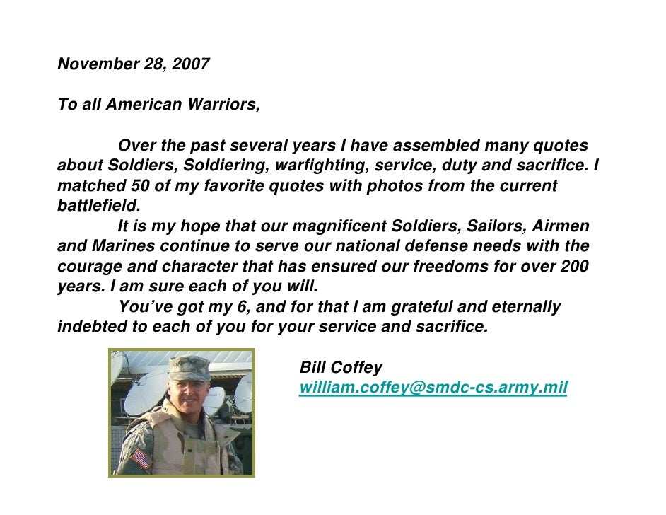 November 28, 2007  To all American Warriors,           Over the past several years I have assembled many quotes about Sold...