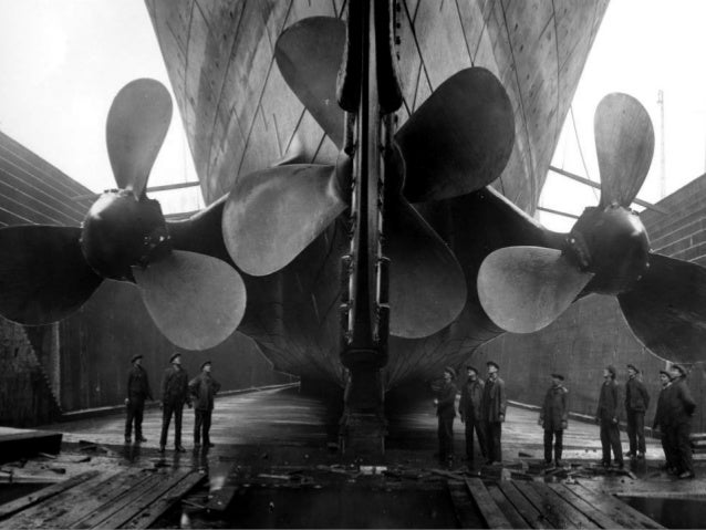 The Titanic's propellers in Harland and Wolff's Belfast shipyard shortly before the ship's launch, May 1911.