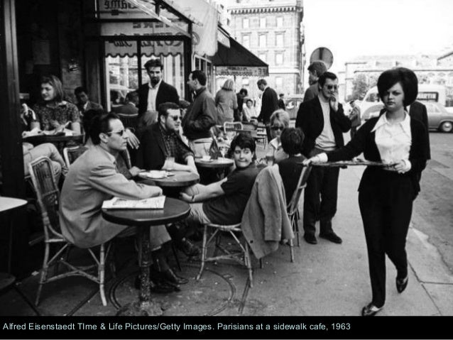 Parisians at a sidewalk cafe 1963 69