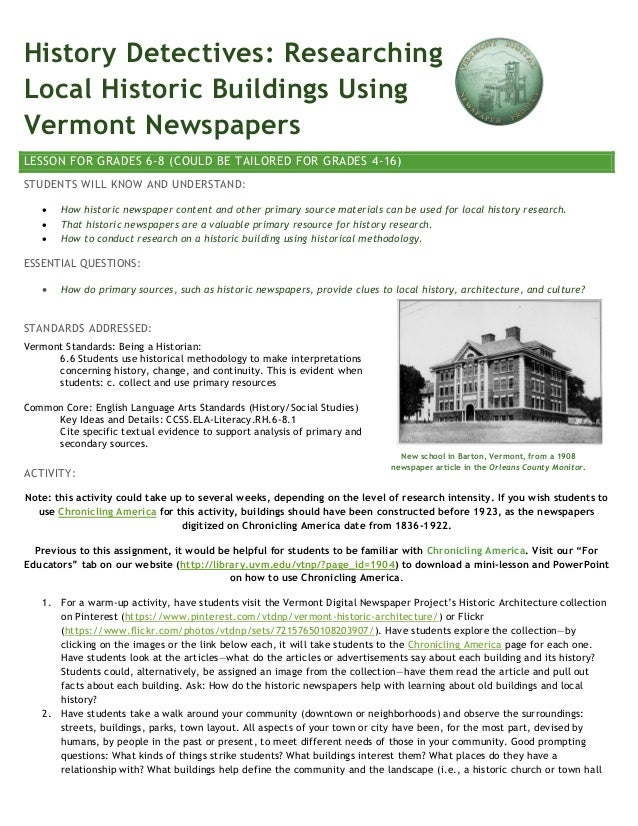 History Detectives: Researching Local Historic Buildings Using Vermont Newspapers LESSON FOR GRADES 6-8 (COULD BE TAILORED...