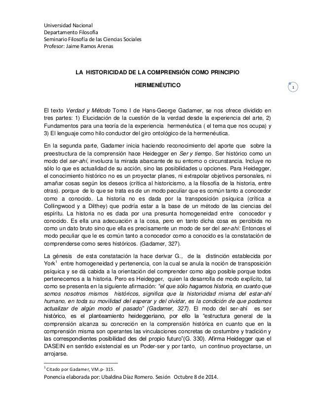 Universidad Nacional  Departamento Filosofía  Seminario Filosofía de las Ciencias Sociales  Profesor: Jaime Ramos Arenas  ...