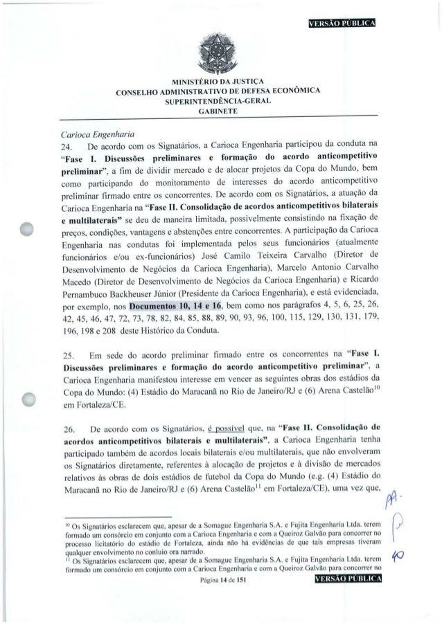 VERSÃO PÚBLICA MINISTÉRIO DA JUSTIÇA CONSELHO ADMINISTRATIVO DE DEFESA ECONÔMICA SUPERINTENDÊNCIA-GERAL GABINETE Carioca E...