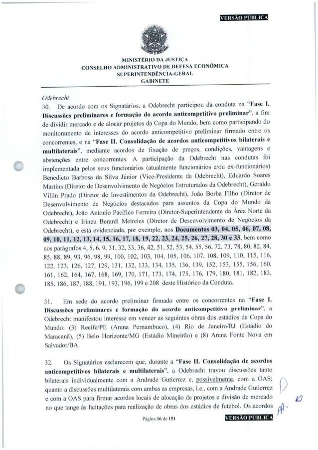 VERSÃO PUBLICA MINISTÉRIO DA JUSTIÇA CONSELHO ADMINISTRATIVO DE DEFESA ECONÔMICA SUPERINTENDÊNCIA-GERAL GABINETE Odebrecht...