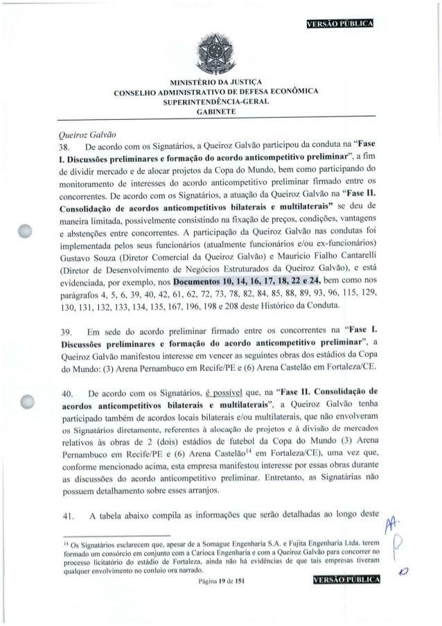 VERSÃO PÚBLICA O MINISTÉRIO DA JUSTIÇA CONSELHO ADMINISTRATIVO DE DEFESA ECONÔMICA SUPERINTENDÊNCIA-GERAL GABINETE Queiroz...