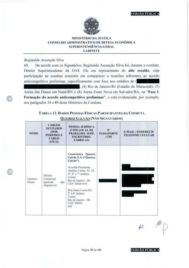 VERSÃO PUBLICA MINISTÉRIO DA JUSTIÇA CONSELHO ADMINISTRATIVO DE DEFESA ECONÔMICA SUPERINTENDÊNCIA-GERAL GABINETE Reginaldo...