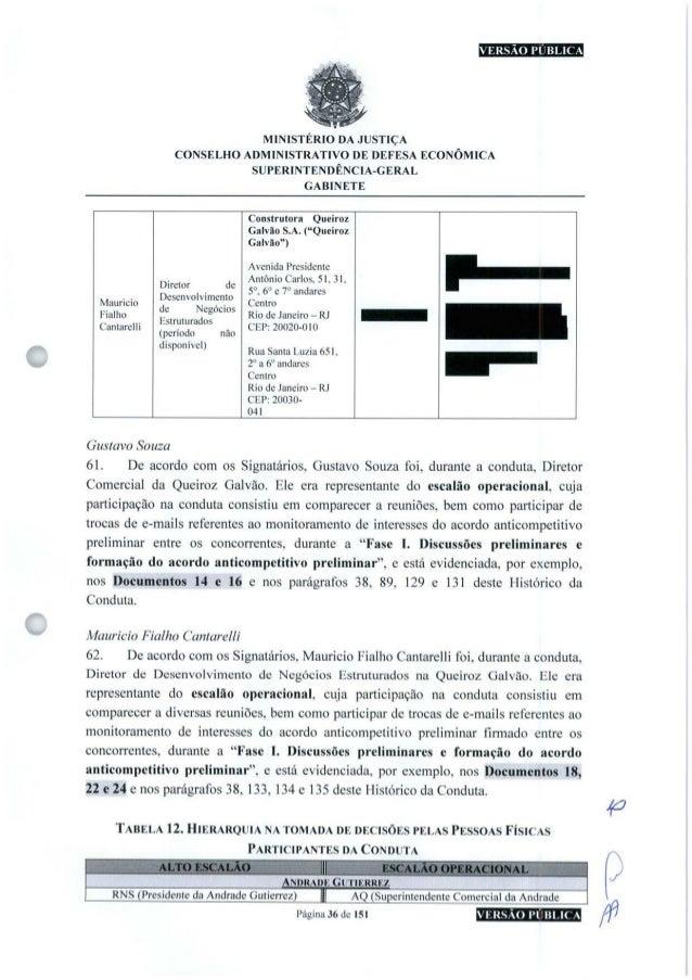 MINISTÉRIO DA JUSTIÇA CONSELHO ADMINISTRATIVO DE DEFESA ECONÔMICA SUPERINTENDÊNCIA-GERAL GABINETE O Maurício Fialho Cantar...
