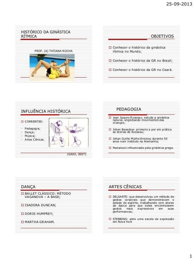 25-09-2013 1 HISTÓRICO DA GINÁSTICA RÍTMICA PROF. (A) TATIANA ROCHA OBJETIVOS  Conhecer o histórico da ginástica rítmica ...
