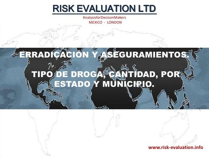 ERRADICACIÓN Y ASEGURAMIENTOS. TIPO DE DROGA, CANTIDAD, POR ESTADO Y MUNICIPIO.<br />www.risk-evaluation.info<br />