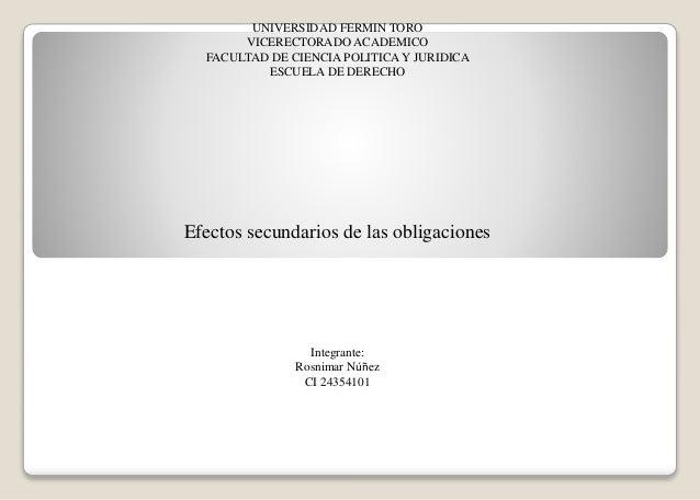 UNIVERSIDAD FERMIN TORO VICERECTORADO ACADEMICO FACULTAD DE CIENCIA POLITICAY JURIDICA ESCUELA DE DERECHO Efectos secundar...