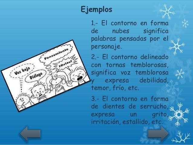 Ejemplos  1.- El contorno en forma  de     nubes     significa  palabras pensadas por el  personaje.  2.- El contorno deli...