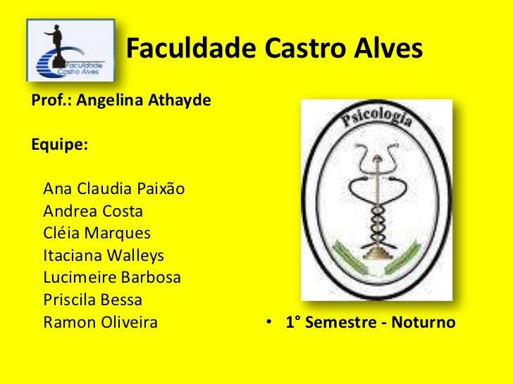 Faculdade Castro Alves<br />Prof.: Angelina Athayde<br />Equipe:<br />   Ana Claudia Paixão<br />   Andrea Costa <br />   ...