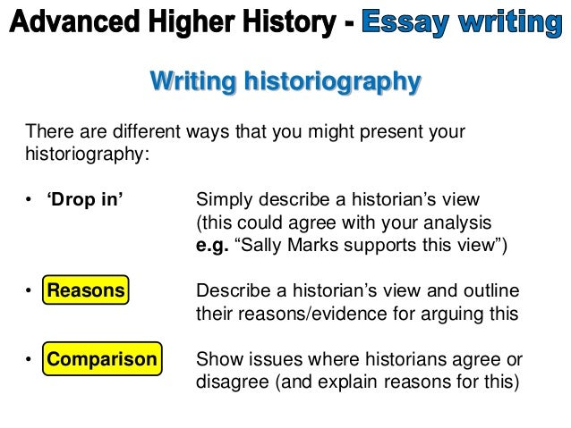 Writing historiography There are different ways that you might present your historiography: • 'Drop in' Simply describe a ...