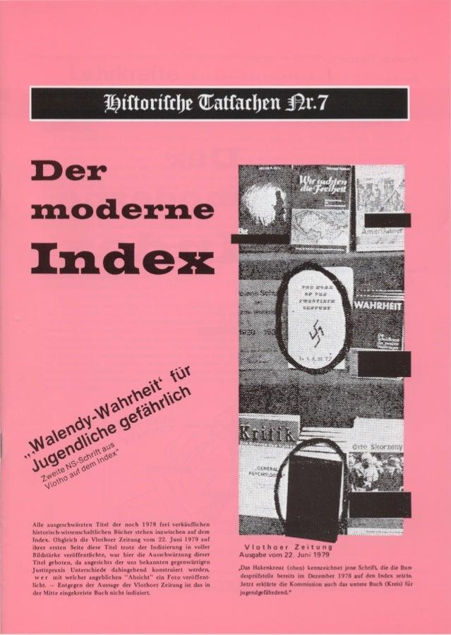 Historische tatsachen nr. 07 udo walendy der moderne index