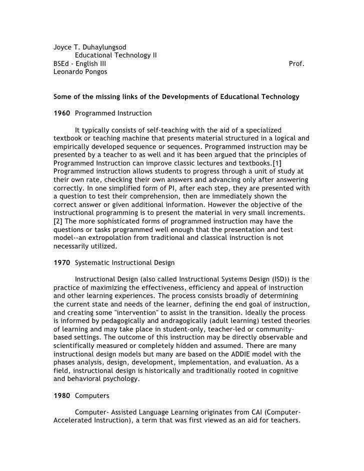 Joyce T. Duhaylungsod        Educational Technology II BSEd - English III                                                 ...