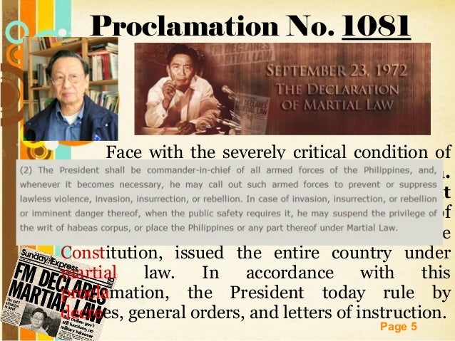 marco s justified martial law Incomplete returns in the referendum gave mr marco's the approval of 90 per cent of the voters on the two questions that related to his exercise of his martial‐law powers the president's critics.