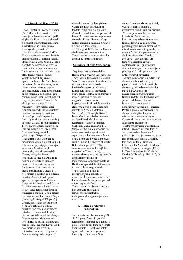 1. Răscoala lui Horea (1784) Eşecul luptei lui Inochentie Micu (în 1751, el a fost constrâns să renunţe la demnitatea epis...
