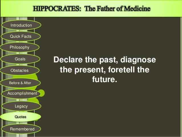 the history of medicine before and after hippocrates Keywords: hippocratic medicine, ancient greek medicine, health care  observe  symptoms carefully, make a diagnosis and then treat the.