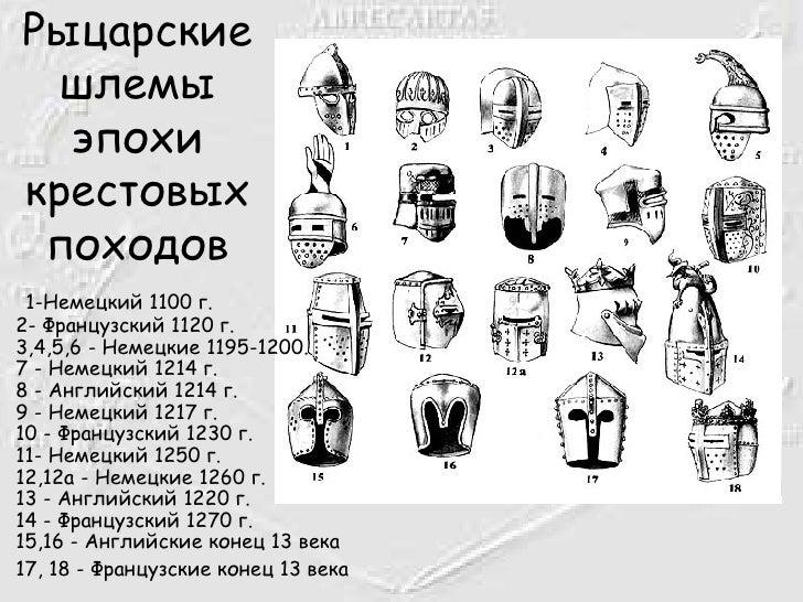 Рыцарские шлемы эпохи крестовых походов <ul><li>1-Немецкий 1100 г. 2- Французский 1120 г. 3,4,5,6 - Немецкие 1195-1200. 7 ...