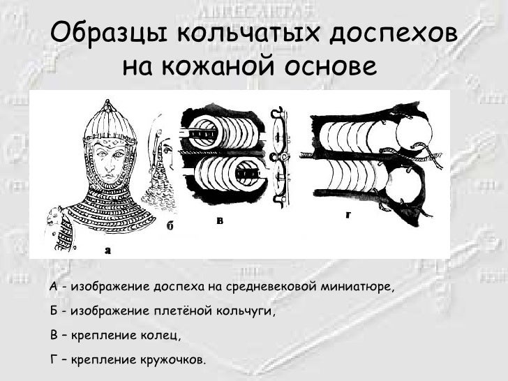 Образцы кольчатых доспехов на кожаной основе   <ul><li>А - изображение доспеха на средневековой миниатюре, Б - изображение...