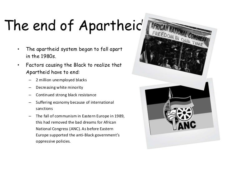 the factors that ended the apartheid The apartheid was a system of racial segregation fronted by thenational party of south africa between 1948 and 1994 and thefactors that led to its end included the fall of the ussr, and thethe end.