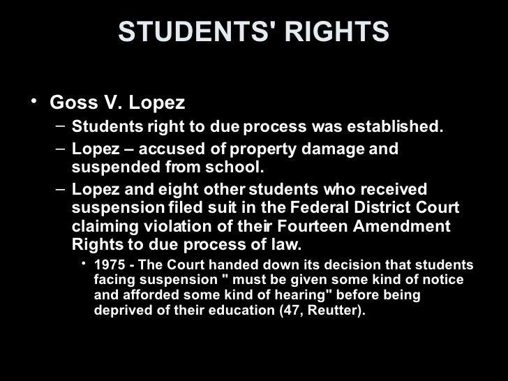 goss vs lopez Goss et al v lopez et al supreme court of the united states  419 us 565 january 22, 1975, decided mr justice white delivered the.