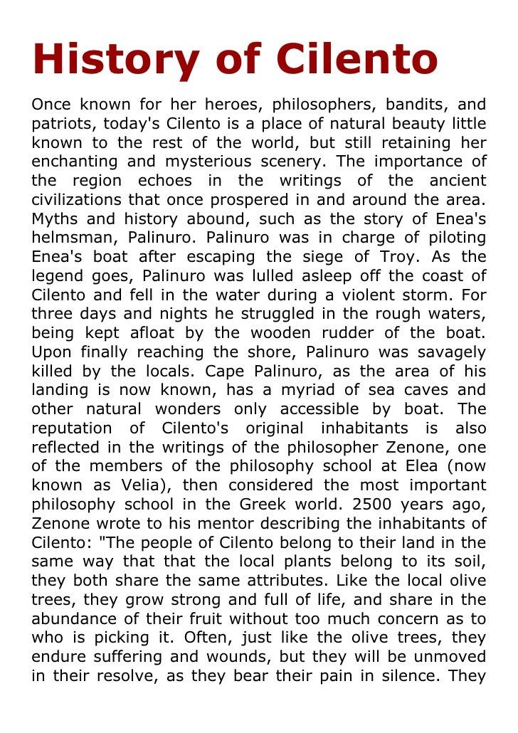 History of Cilento Once known for her heroes, philosophers, bandits, and patriots, today's Cilento is a place of natural b...