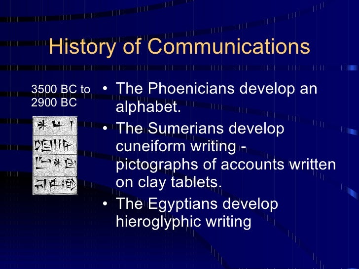 History of Communications <ul><li>The Phoenicians develop an alphabet. </li></ul><ul><li>The Sumerians develop cuneiform w...