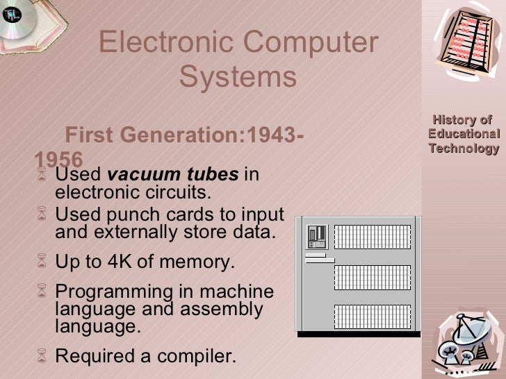 Electronic Computer Systems <ul><li>Used  vacuum tubes  in electronic circuits. </li></ul><ul><li>Used punch cards to inpu...