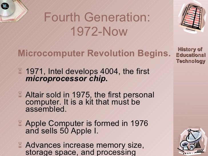 <ul><li>1971, Intel develops 4004, the first  microprocessor chip . </li></ul><ul><li>Altair sold in 1975, the first perso...