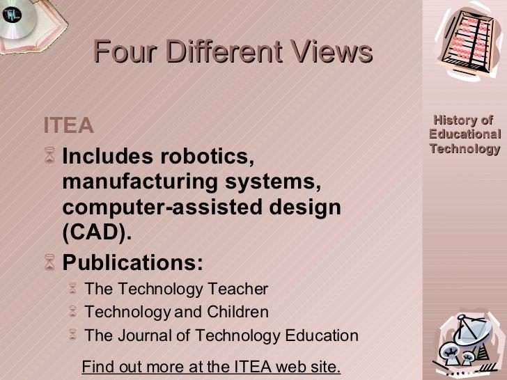 Four Different Views <ul><li>ITEA </li></ul><ul><li>Includes robotics, manufacturing systems, computer-assisted design (CA...