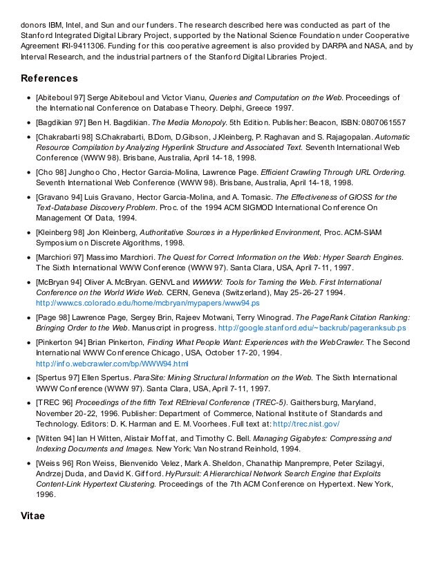 History page-brin thesis - anatomy of a large scale hypertextual we…