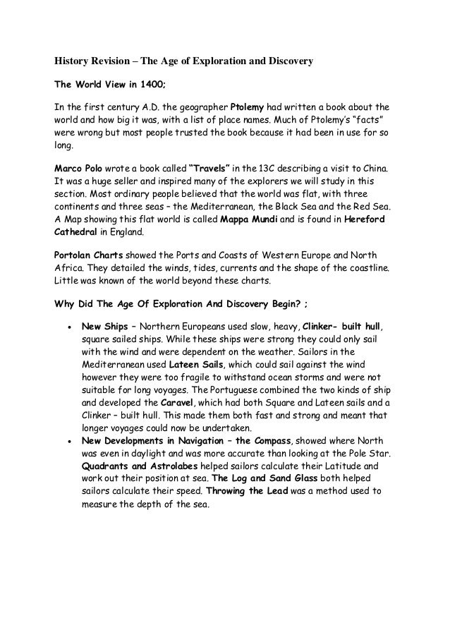 ap world history age of exploration essay Ap world history is designed to be the equivalent of a two-semester introductory college or university world history course in ap world history students investigate significant events, individuals, developments, and processes in six historical periods from approximately 8000 bce to the present.