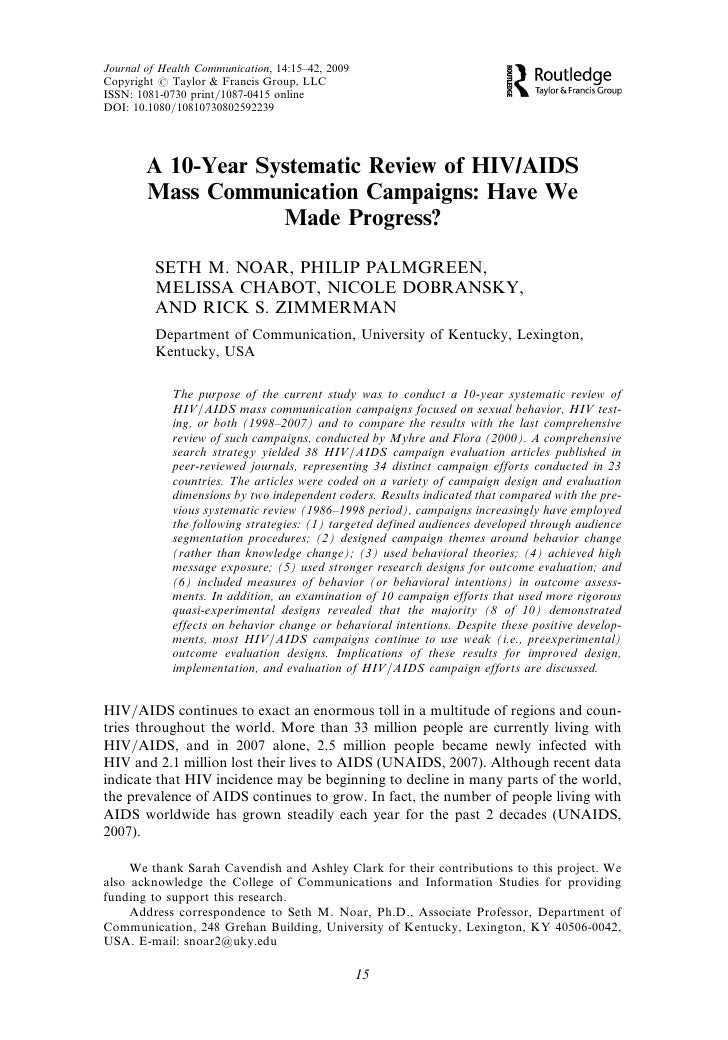 Journal of Health Communication, 14:15–42, 2009 Copyright # Taylor & Francis Group, LLC ISSN: 1081-0730 print/1087-0415 on...