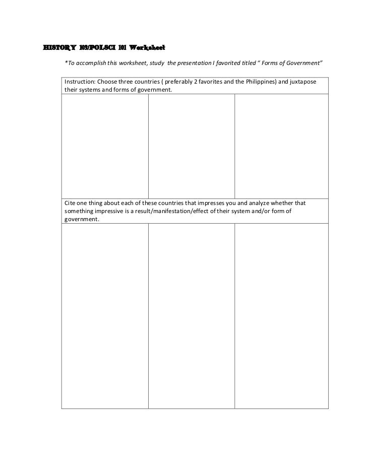 "HISTORY 103/POLSCI 101 Worksheet     *To accomplish this worksheet, study the presentation I favorited titled "" Forms of G..."