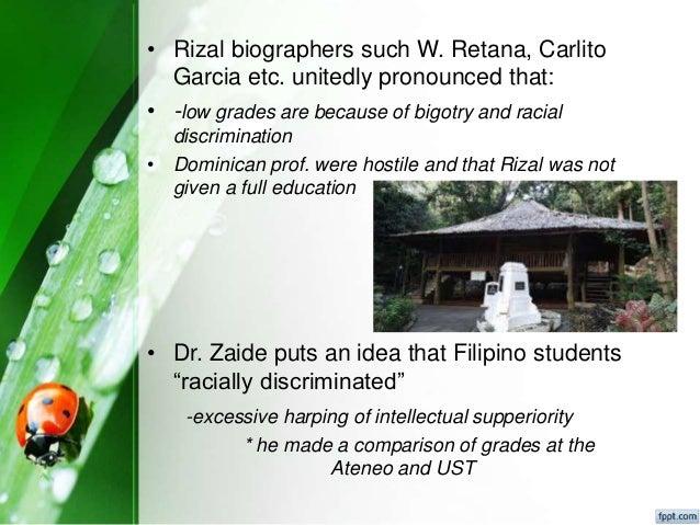 rizal discrimination Jose rizal in ust essay  he could no longer endure the rampant bigotry, discrimination, and hostility in ust his uncle, antonio rivera, leonor's father,.