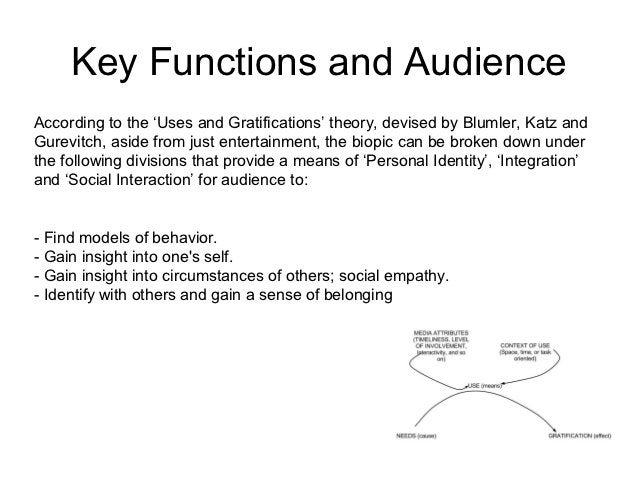 Key Functions and AudienceAccording to the 'Uses and Gratifications' theory, devised by Blumler, Katz andGurevitch, aside ...