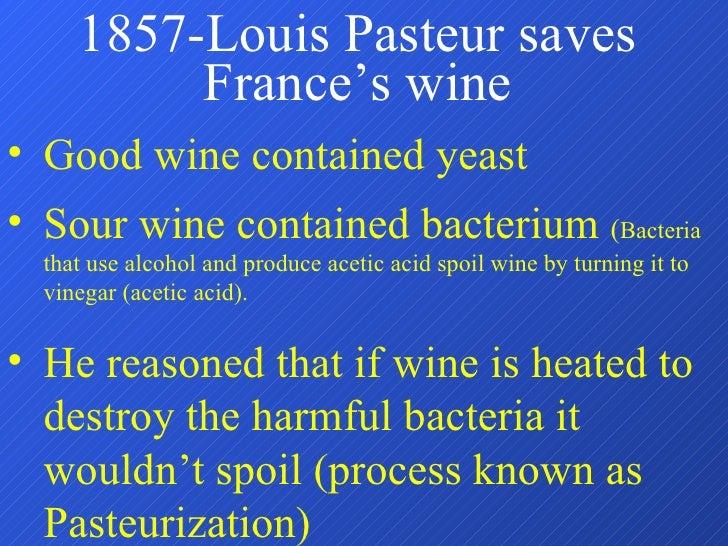 1857-Louis Pasteur saves France's wine <ul><li>Good wine contained yeast </li></ul><ul><li>Sour wine contained bacterium  ...