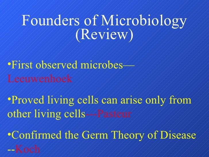 Founders of Microbiology (Review) <ul><li>First observed microbes— Leeuwenhoek </li></ul><ul><li>Proved living cells can a...