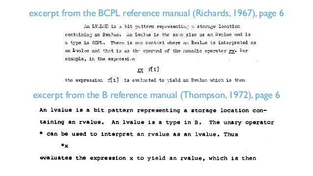 /* Early C example */ mystrcpy(s,t) char *s; char *t; { int i; for (i = 0; (*s++ = *t++) != '0'; i++) ; return(i); } main(...