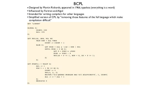 The C Reference Manual, Dennis Ritchie, Jan 1974 (aka C74) Fun fact:The C74 reference manual does not mention BCPL at all....