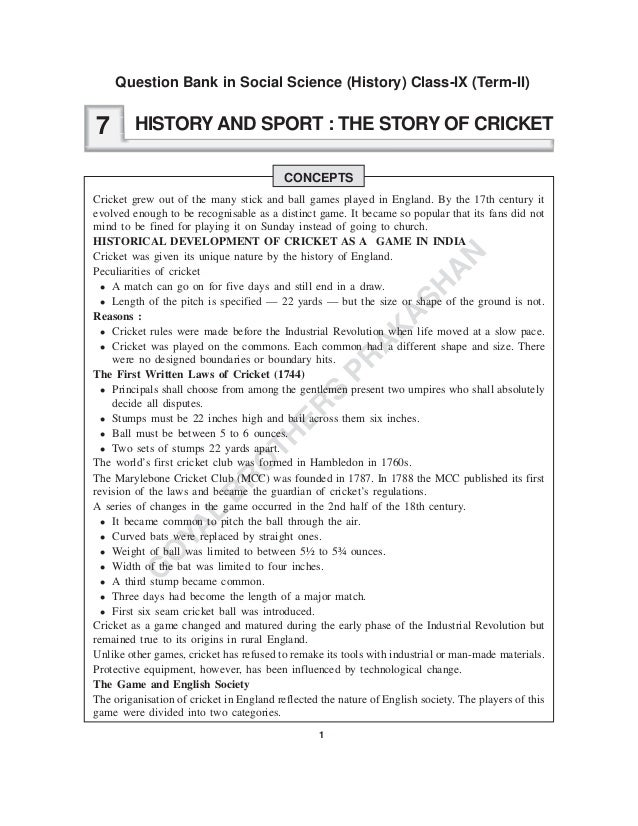 1 G O YA L B R O TH ER S PR A K A SH A N HISTORY AND SPORT : THE STORY OF CRICKET CONCEPTS Cricket grew out of the many st...