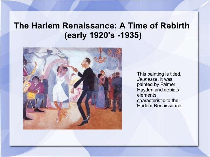 an introduction to the history of harlem renaissance It was time for a cultural celebration african americans had endured centuries of  slavery and the struggle for abolition the end of bondage had not brought the.