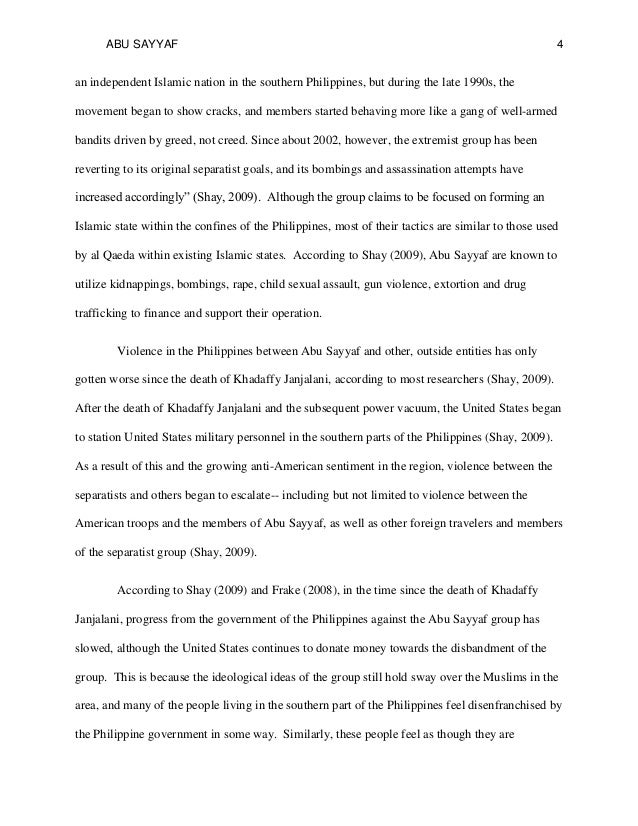 history motives and tactics of abu sayyaf research paper sample   4