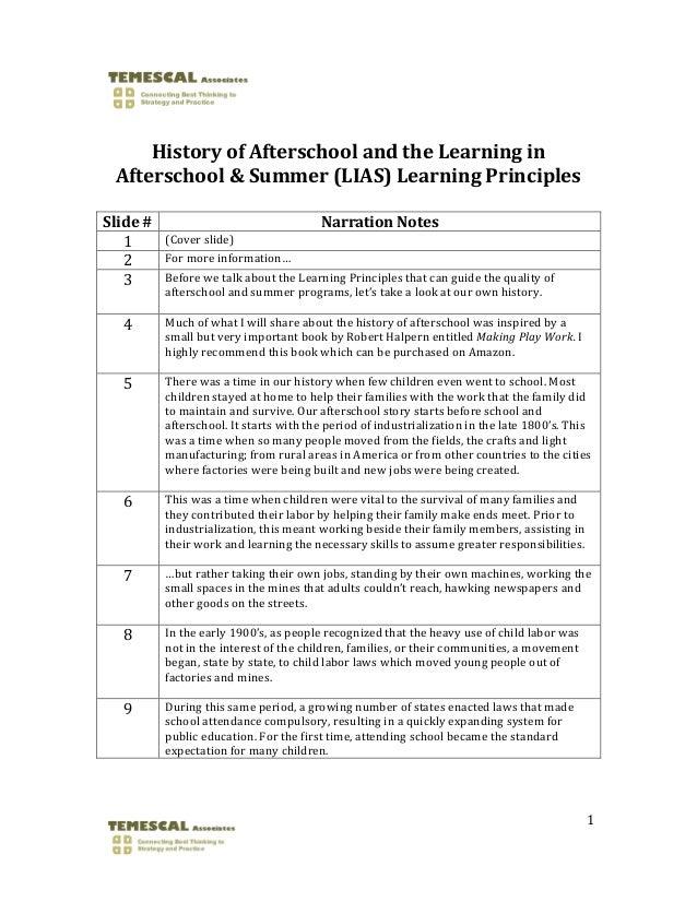 HistoryofAfterschoolandtheLearningin    Afterschool&Summer(LIAS)LearningPrinciplesSlide#        ...